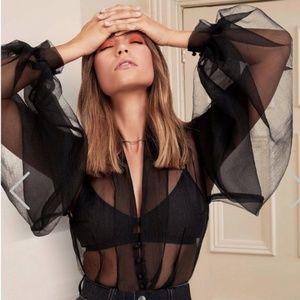 Nastygal organza black sheer blouse puff sleeve